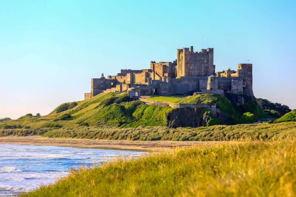 Bamburgh Castle as seen from the sea