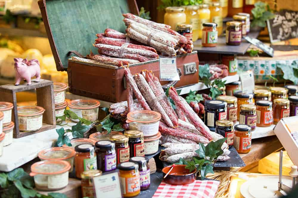 Selection of salami and jam at Borough Market in Ldonon