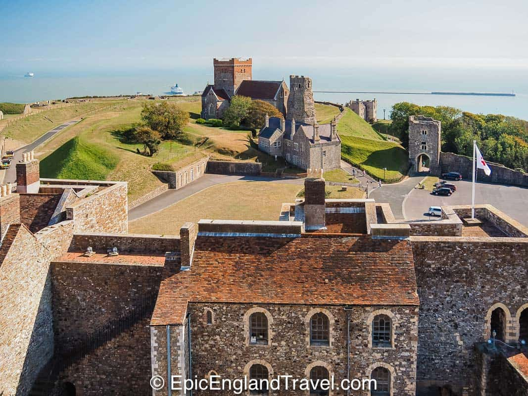 A view from Dover Castle to the Roman Lighthouse and the Atlantic Ocean
