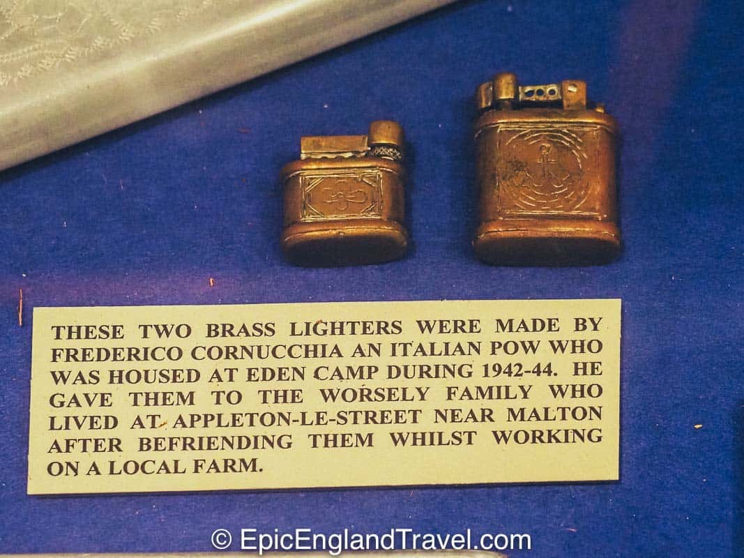 cigarette lighters given as a gift by an Italian POW to a Yorkshire family at Eden Camp Museum