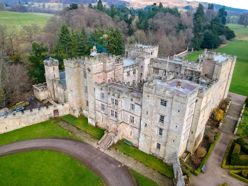 An aerial view of Chillingham Castle