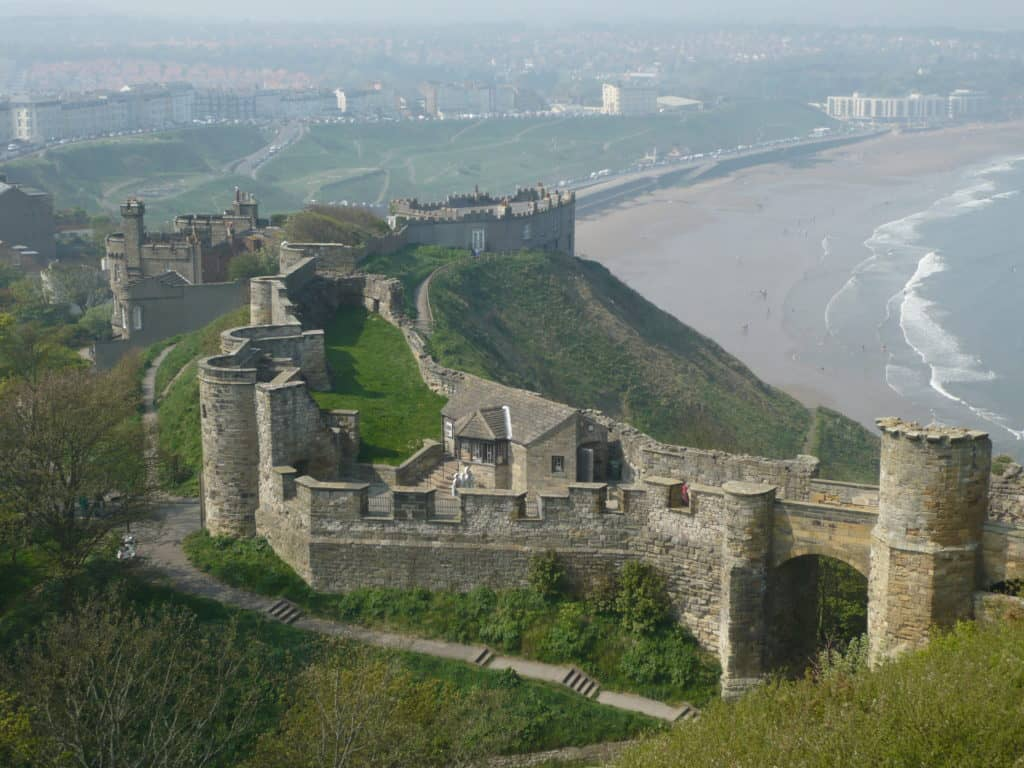 An aerial view of Scarborough Castle