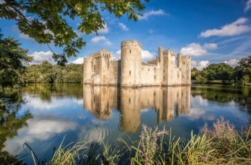 Historic Bodiam Castle in East Sussex, England