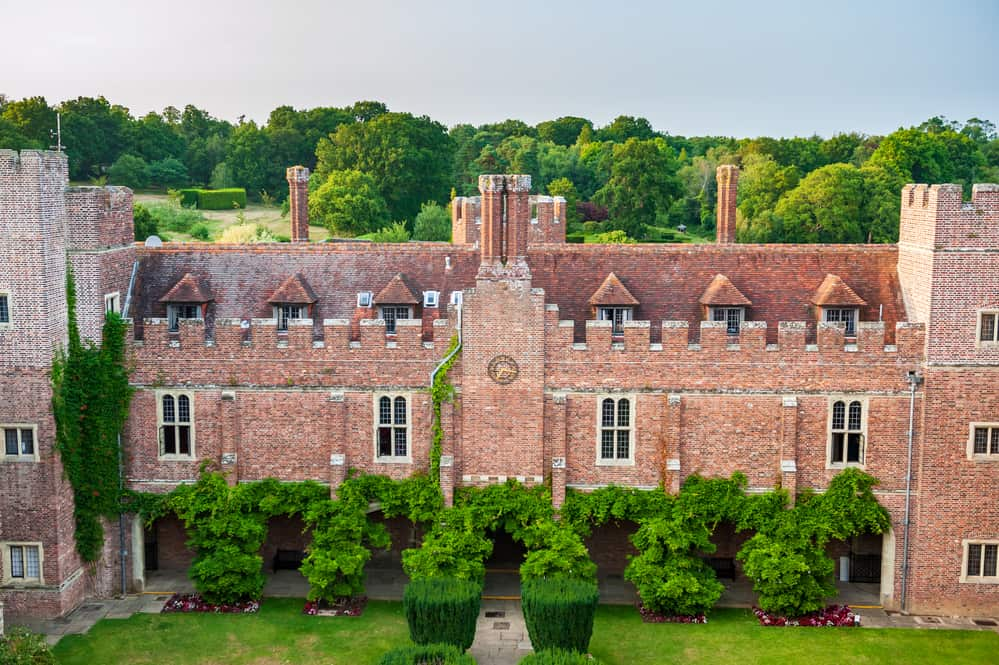 Aerial view of Herstmonceux garden, East Sussex, England. Brick Herstmonceux castle in England (East Sussex) 15th century.