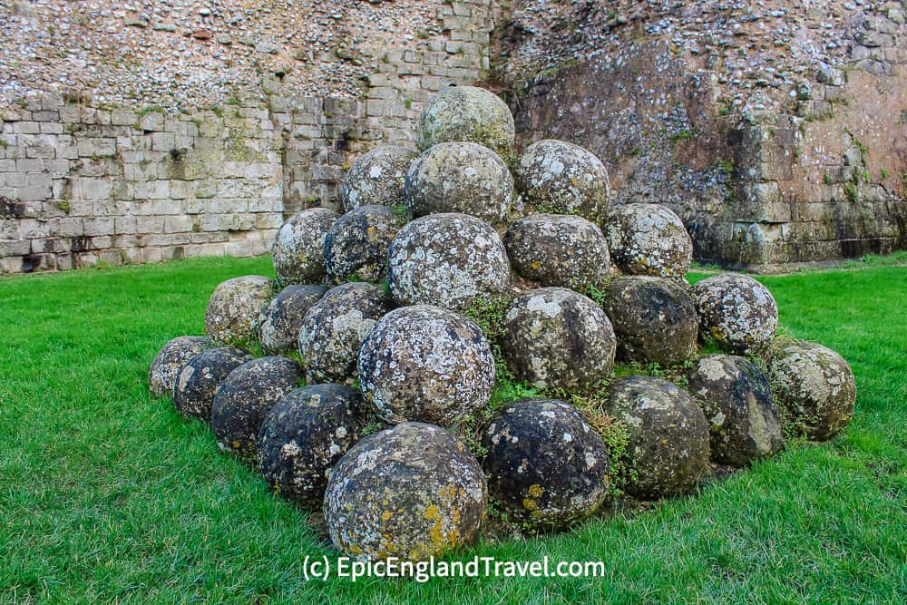 Cannonballs stockpiled at Peveseny Castle East Sussex