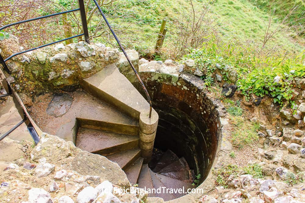stairs down to a Pevensey Castle dungeon