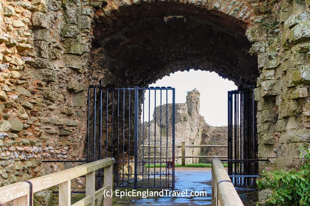 The entrance to Pevensey Castle