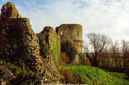The impressive ruins of Pevensey Castle dominate the landscape.