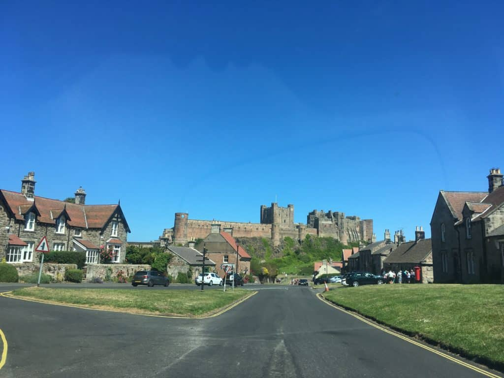 Bamburgh Castle as seen from the village