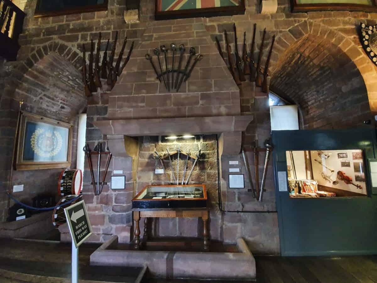 weapons display inside Shrewsbury Castle Museum