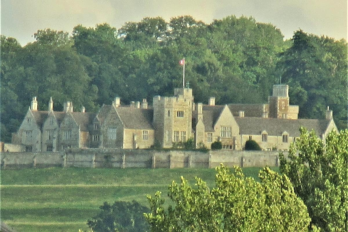 Rockingham Castle viewed from Great Easton in England
