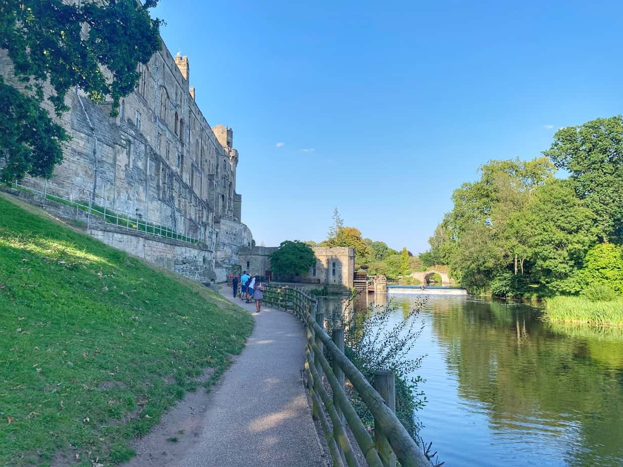 river and Warwick Castle in England