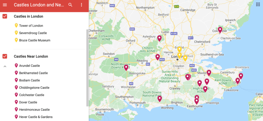 map of castles in London and castles near London